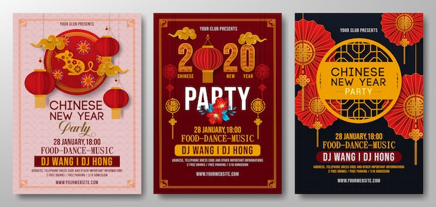 Set of chinese new year party flyer template vector