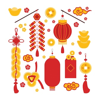 Set chinese new year symbols good luck, prosperity and wealth isolated. traditional asian elements