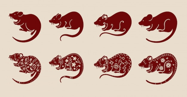 Set of chinese rat on brown background