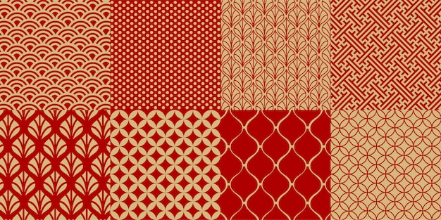 Set of chinese  seamless patterns