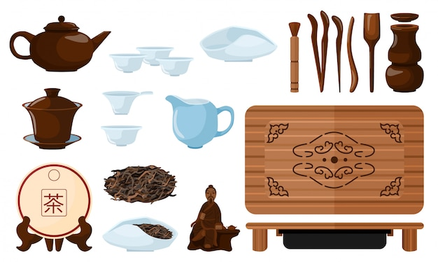 Set chinese tea ceremony on white background. kit kettle, cups, pu-erh, scoop, gaiwan, chahai, chaban, chaju, needle, strainer, cha dao, tongs, funnel, vase, brush in style flat