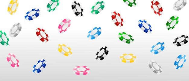 Установите фишки с реалистичными жетонами для азартных игр, наличными для рулетки или покера,