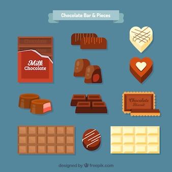 Set of chocolate bars and bonbons