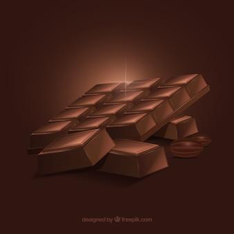Set di barrette di cioccolato in stile realistico