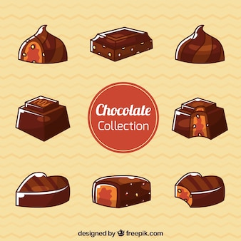 Set of chocolate bonbons with different flavors
