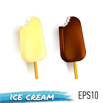 Set of chocolate and milk ice cream on stick