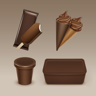 Set of chocolate popsicle choc-ice lollipop soft serve ice cream waffle cone with plastic brown wrapper and box container for package   close up  on background.