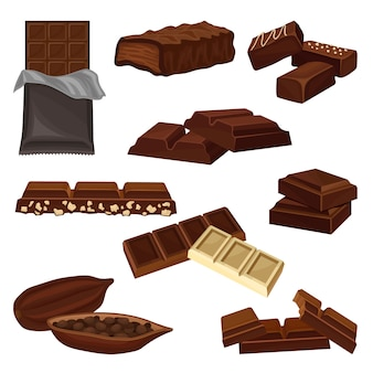 Set of chocolate products. candies, pieces of bars and cacao bean full of seeds. sweet food. elements for poster or banner of candy shop