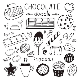 Set of chocolate and sweet drawing for world chocolate day vector illustration sticker Premium Vector