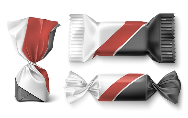 Set of chocolate sweets in wrapper. candy design. realistic vector illustration.