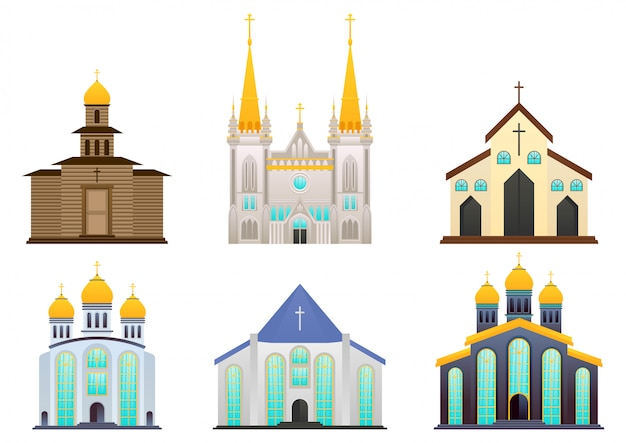 Set of christian, catholic church or cathedrals building.