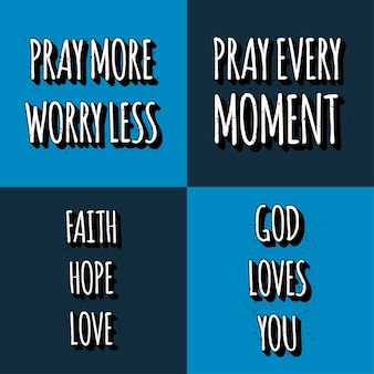 Set of christian lettering quotes. motivation phrases