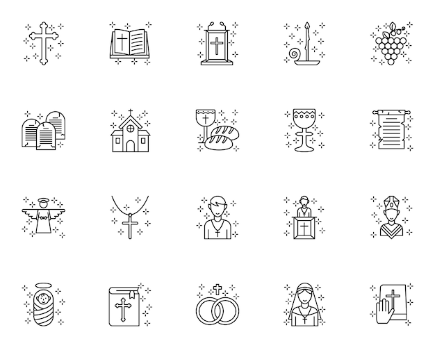 Set of christian outline icons