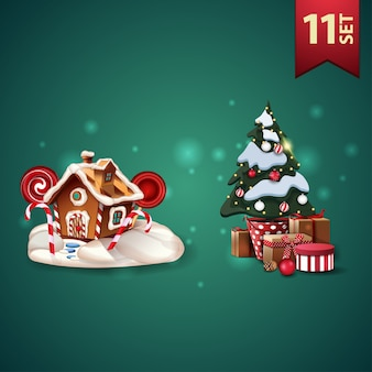 Set of christmas 3d icons, christmas gingerbread house and christmas tree in a pot with gifts