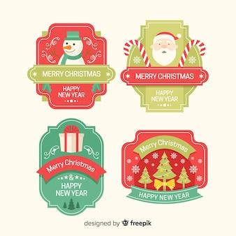 Set of christmas badges in flat design