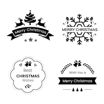 Set of christmas badges vector
