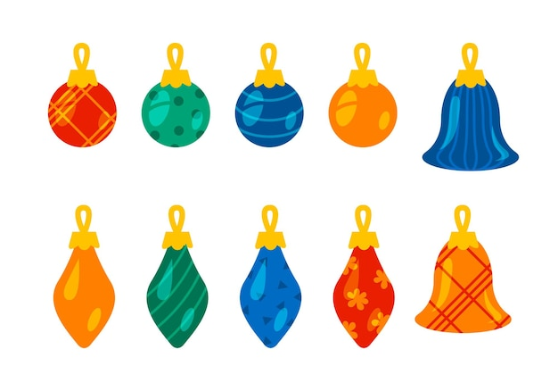 Set of christmas balls different shapes colorful cartoon new year illustration isolated on white