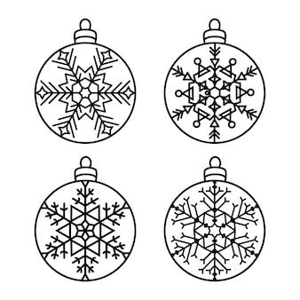 크리스마스 공을 설정 새해 장식 눈송이와 라운드 조각 패턴 레이스 스텐실