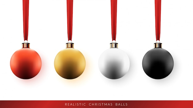 Set of christmas balls with ribbon on white background