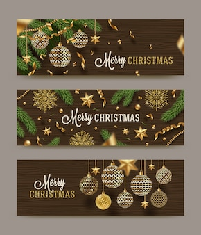 Set of christmas banners - christmas holidays decoration on a wooden background.