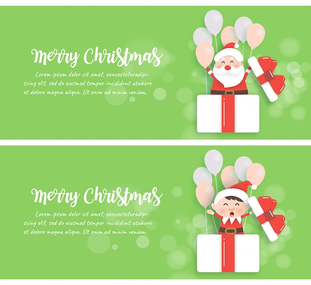 Set of christmas banners with santa and elf standing in a gift box