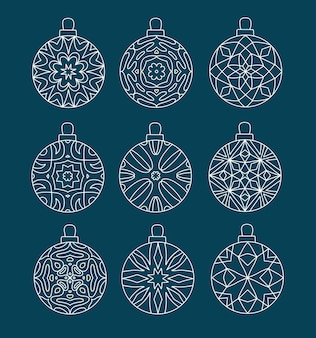 Set of christmas bauble with geometric patterns.