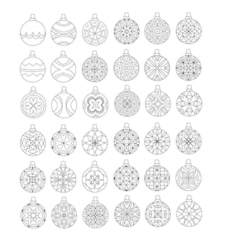 Set of christmas bauble with geometric patterns