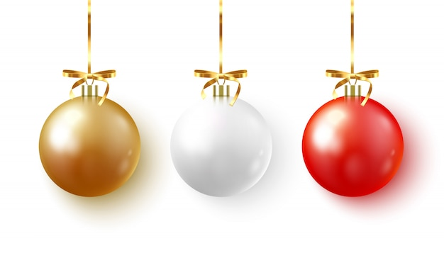 Set of christmas bauble with ribbon and bow on white background.  illustration