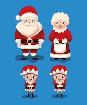 Set of christmas  in blue background  illustration
