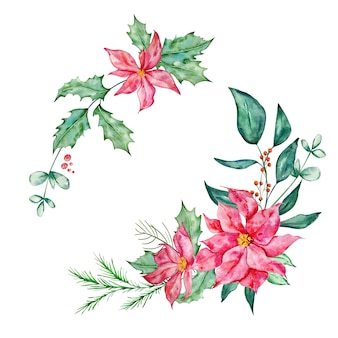 Set christmas bouquet with eucalyptus poinsettia and spruce branch and holly  watercolor illustration