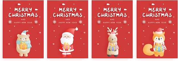 Set of christmas card, celebrations with reindeer, santa, beer and fox holding gift box, in blue christmas scene, paper cut style .