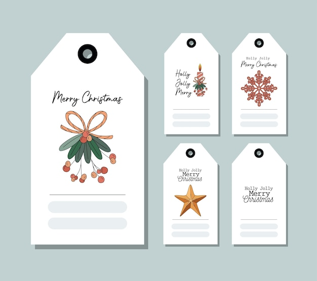 Set of christmas cards on blue illustration design