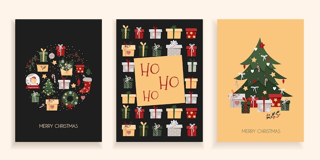 Set of christmas cards on a dark background. new year postcards in trendy