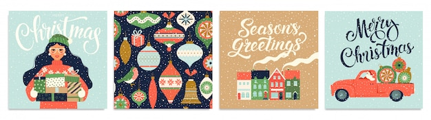 Set of christmas cards and happy new year templates.