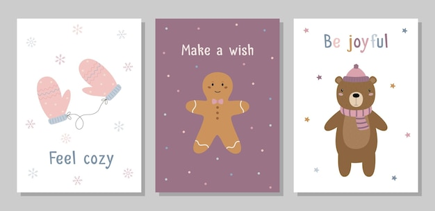 A set of christmas cards knitted mittens a ginger man a bear in a hat and scarf