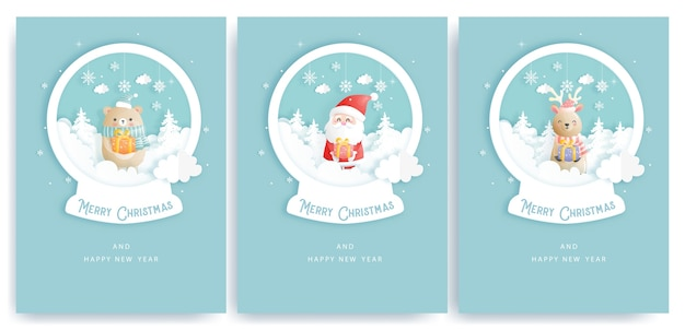 Set of christmas cards and new year greeting cards with cute santa clause and christmas elements on a paper snow globe