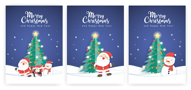 Set of christmas cards and new year greeting cards with a cute santa clause and friends.