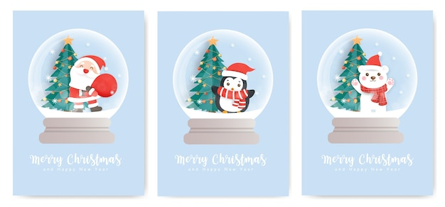 Set of christmas cards  and new year greeting cards with a cute santa clause , penguin and snowman in a snow globe.