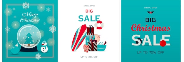 Set of christmas cards vector template for winter holidays banner for new year s sale black friday o...