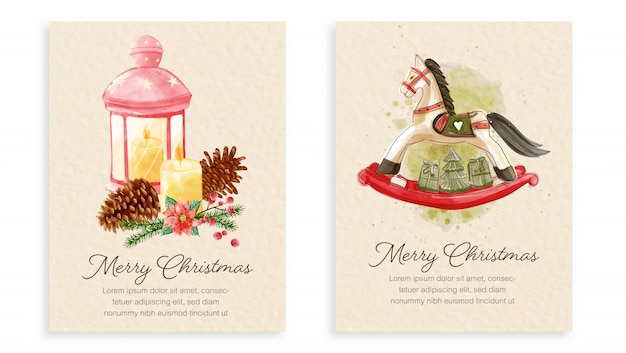 Set of christmas cards watercolor painting style.