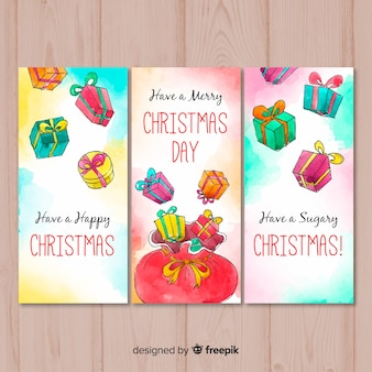 Set of christmas cards in watercolor style