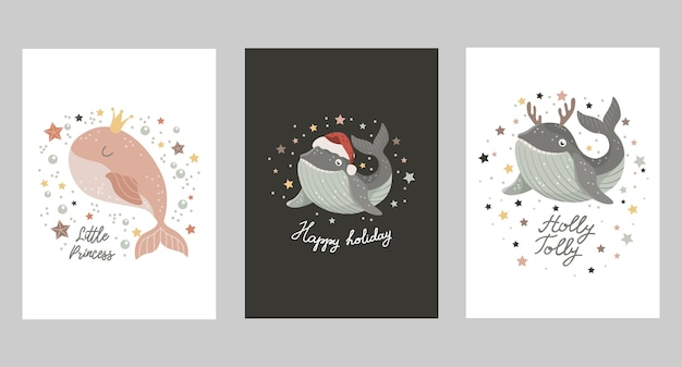 Set of christmas cards with baby whale