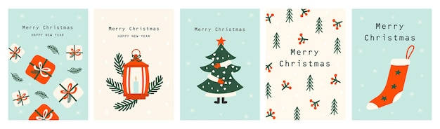 Set of christmas cards with christmas tree