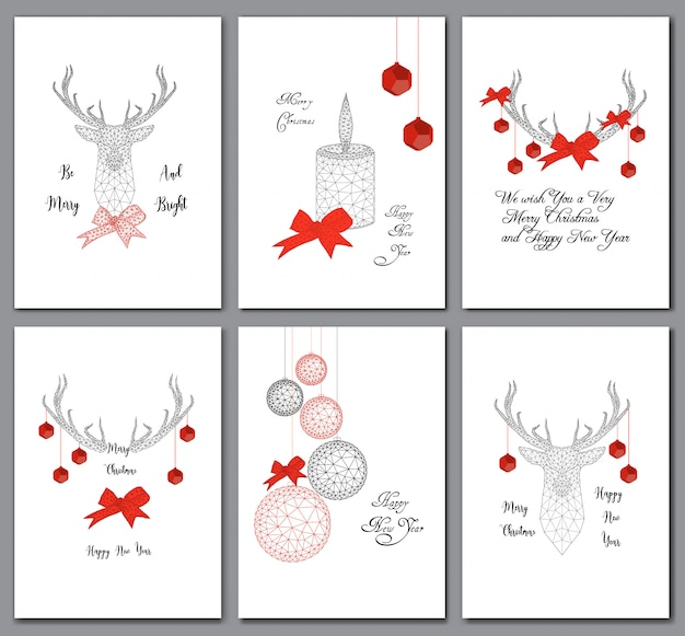 Set of christmas cards with low poly decorations