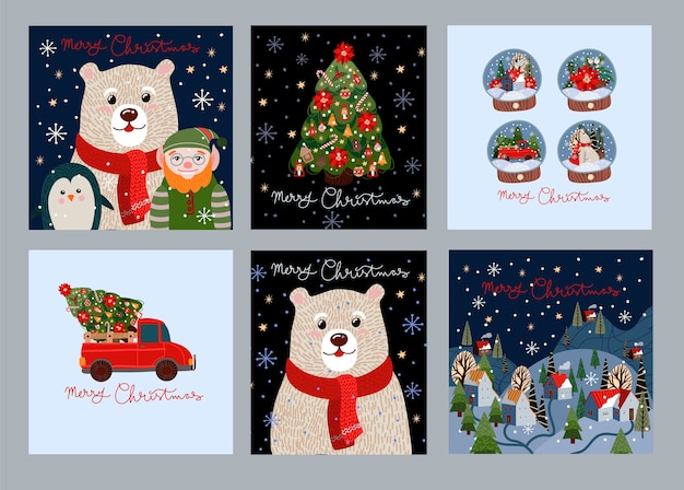 Set of christmas cards with simple cute illustrations of polar bear, santa claus and holiday decor.