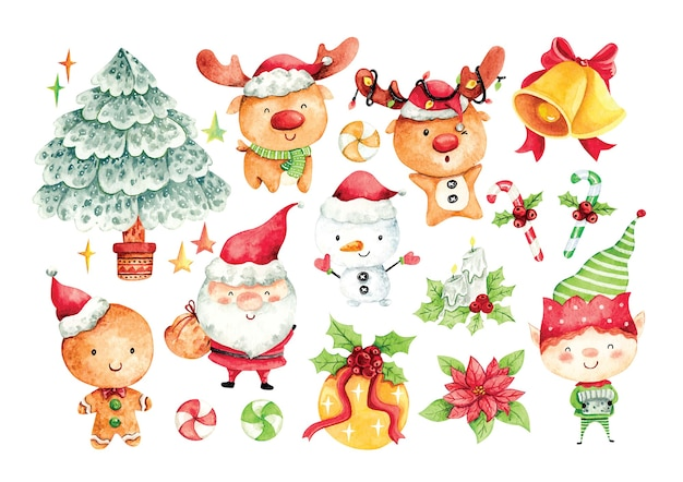 Set of christmas cartoon character in water color
