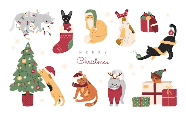 Set of christmas cats, collection of funny cute pets in hats, knitted sweaters and scarfs. sleeping kittens with garlands and presents. hand drawn vector illustration, isolated on white background