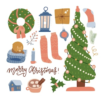 Set of christmas celebration elements  tree gifts toys lantern clothes and decorations winter collec...