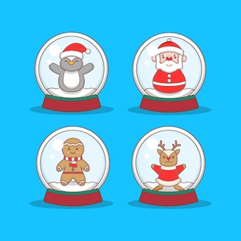 Set of christmas character in crystal balls