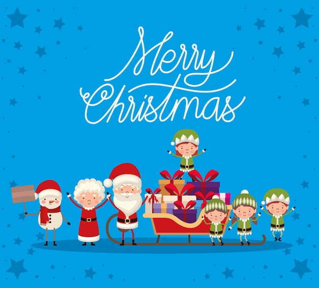 Set of christmas characters on blue background.